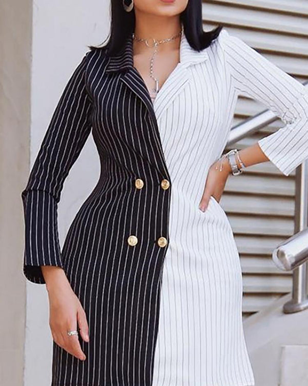 Two Tone Striped Double Breasted Blazer Dress