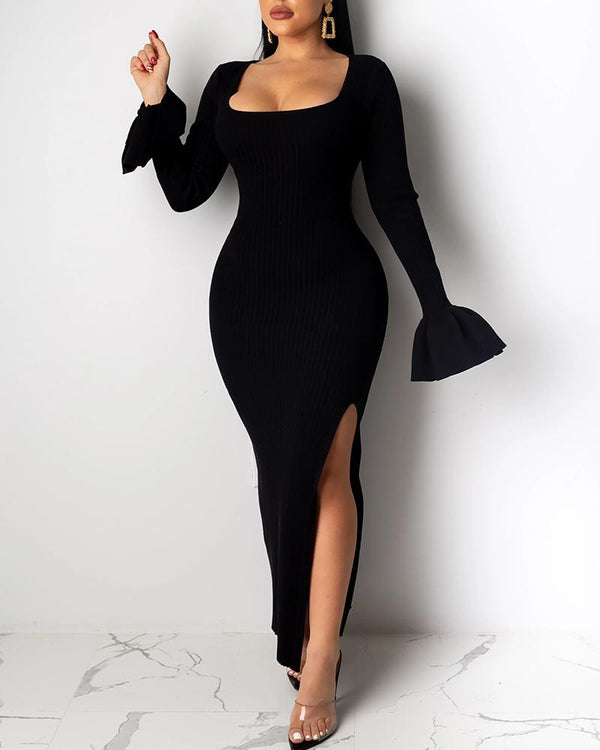 Bell Sleeve Slit Design Evening Dress