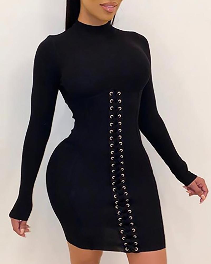 Solid Eyelets Lace-Up Bodycon Dress