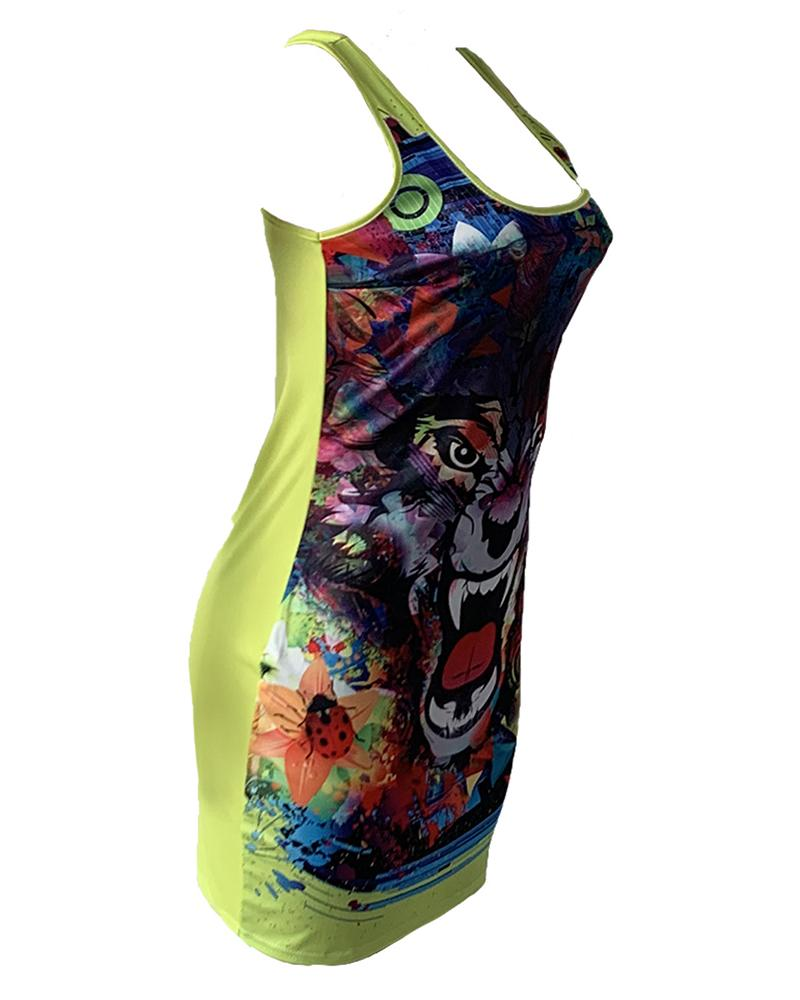 Tiger Print Thin Strap Bodycon Dress