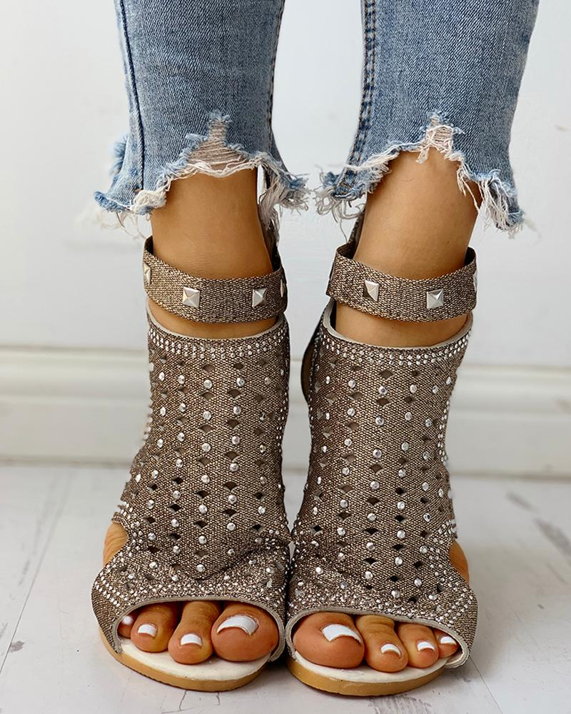 Rivet Detail Cutout Flat Sandals