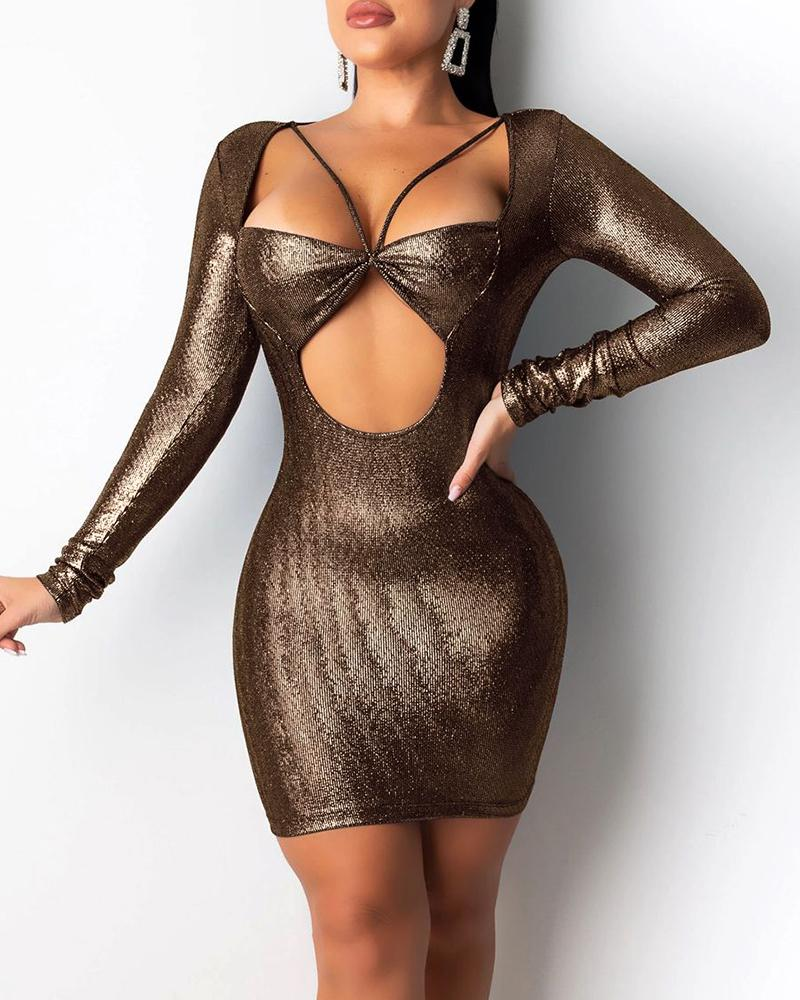 Glitter Long Sleeve Cut Out Design Bodycon Dress