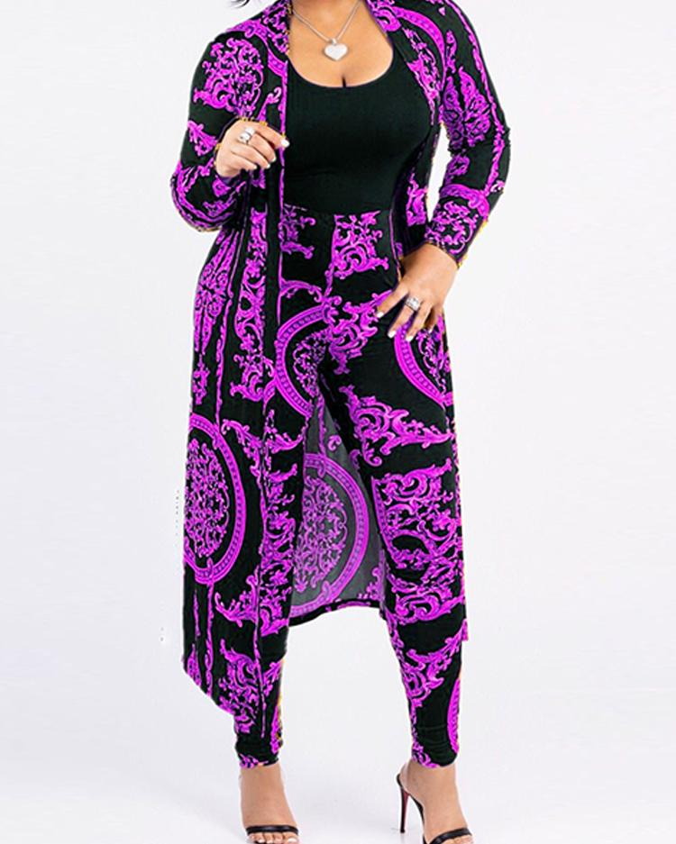 Open Front Retro Print Cardigan & Pant Sets