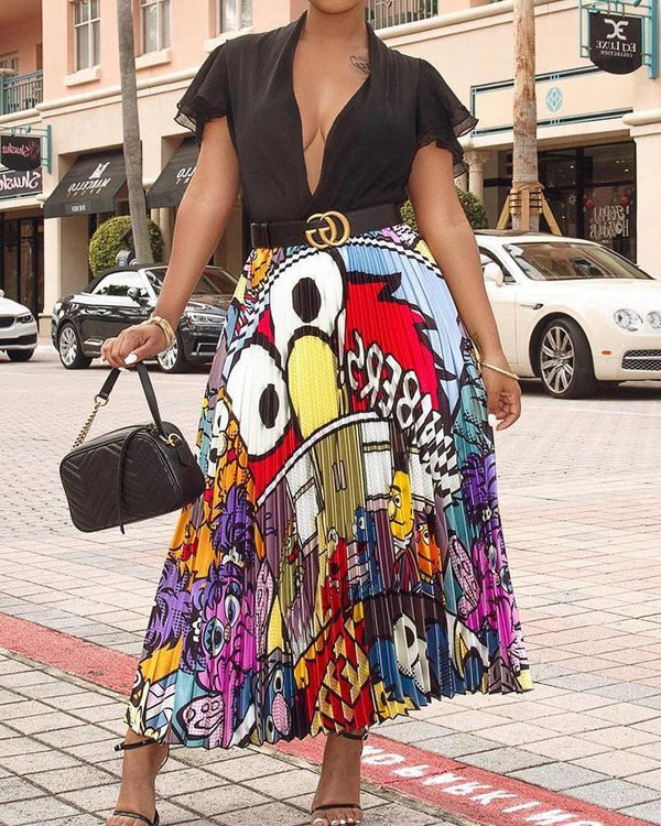 Cartoon Print High Waist Pleated Skirts