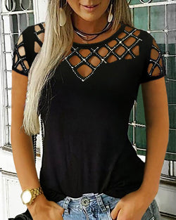 Studded Grid Hollow Out Casual Top