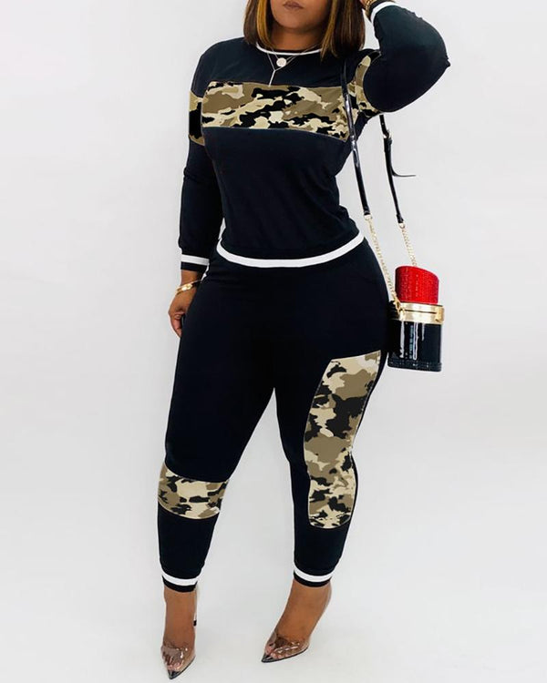 Camouflage Colorblock Top & Pant Sets