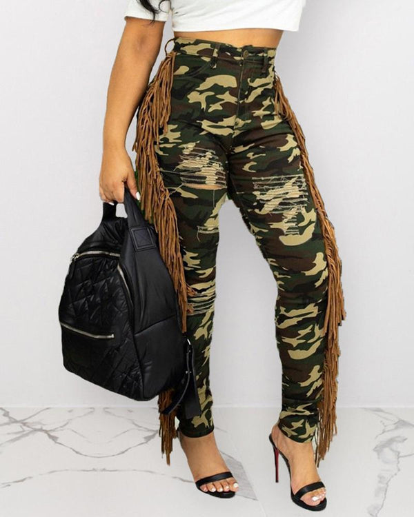 High Waist Camouflage Ladder Cut Out Fringed Pants