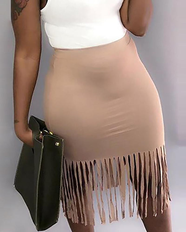 Solid Tassel Design Skirts