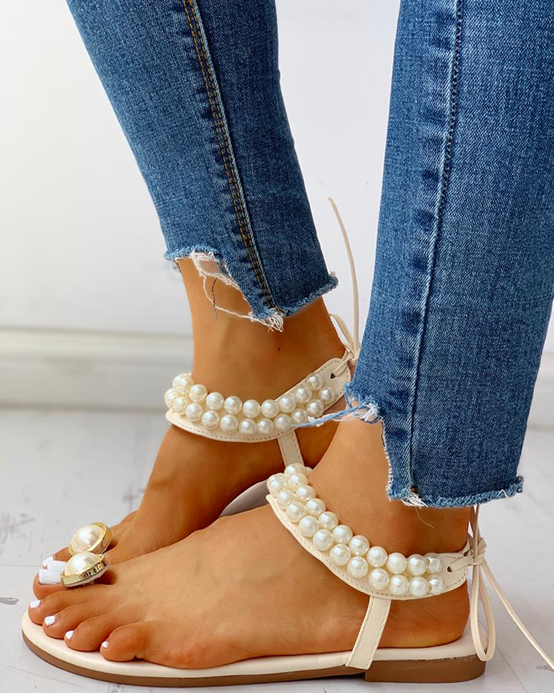 Toe Ring Beaded Casual Sandals