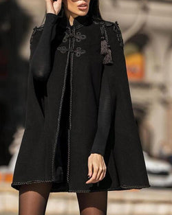 Loose Fit Emroidered Cape Coat