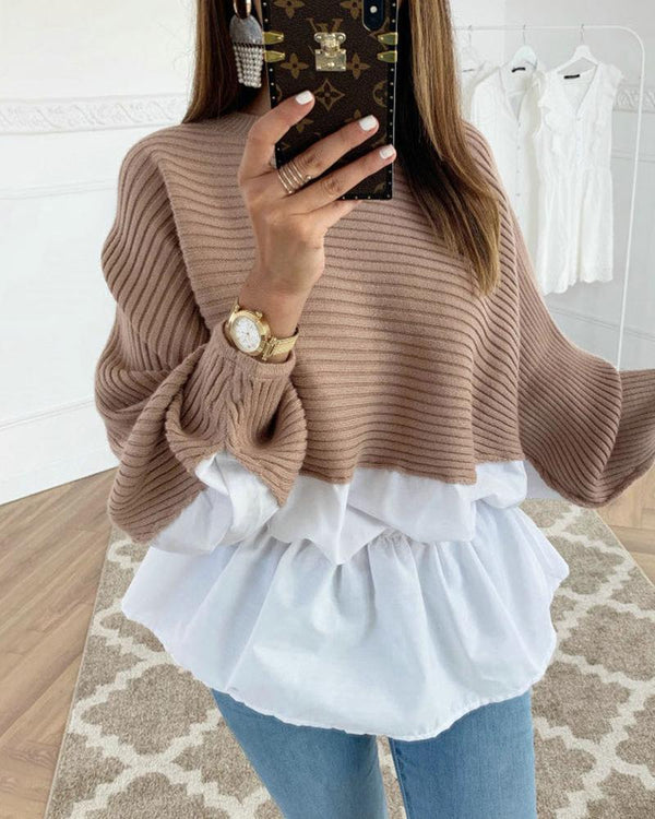 Colorblock Insert Ruffles Ribbed Batwing Sleeve Blouse