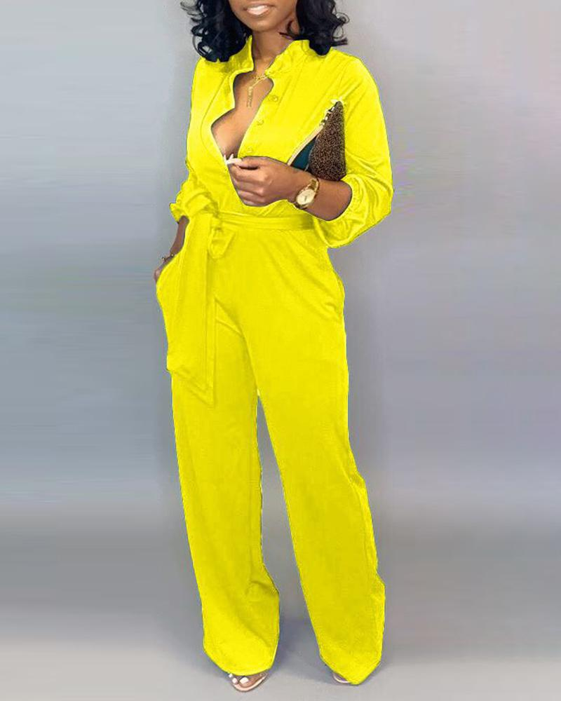 Solid Buttoned Pocket Cargo Jumpsuit