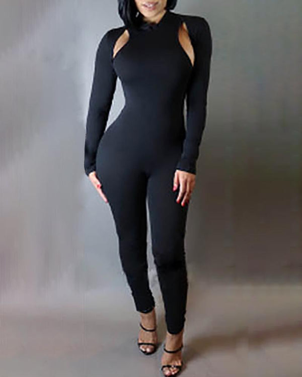 Solid Long Sleeve Cut Out Design Backless Jumpsuit