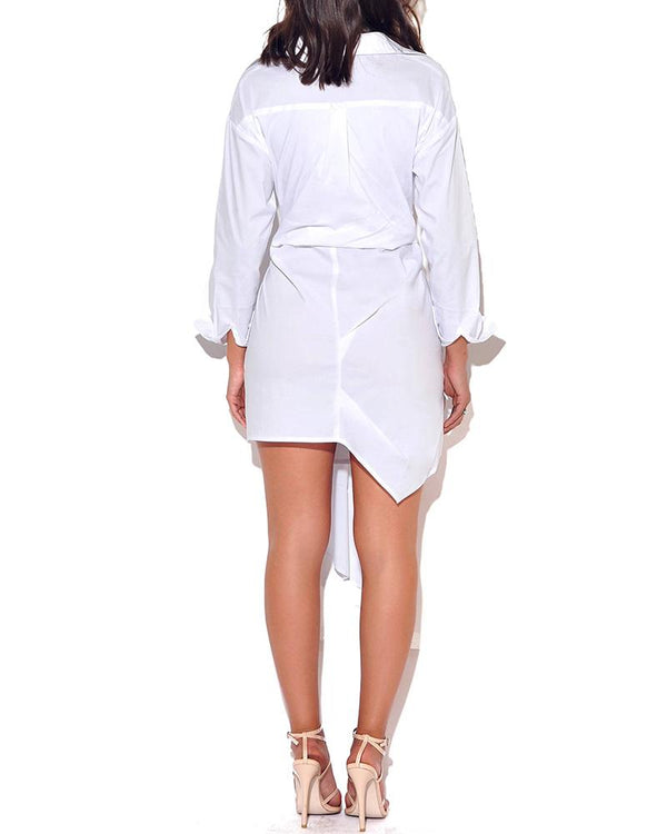Solid Drape Design Shirt Dress