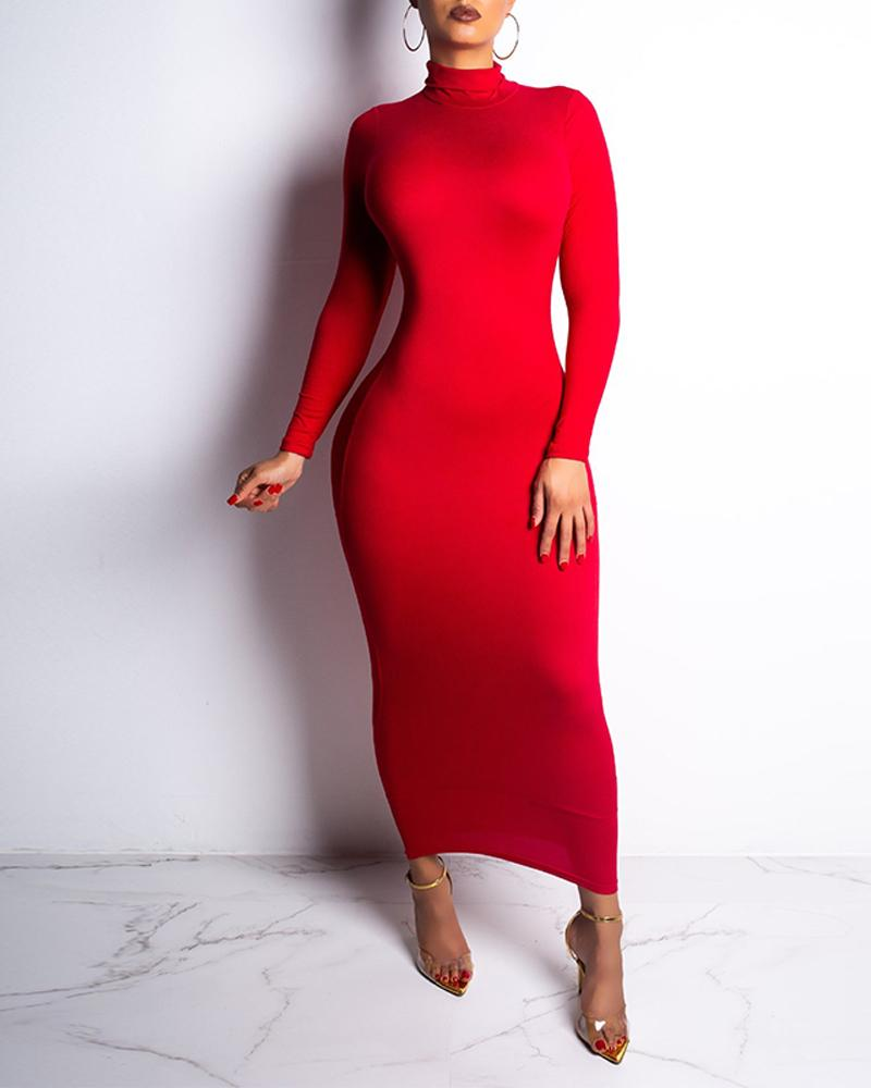 Solid High Neck Bodycon Midi Dress