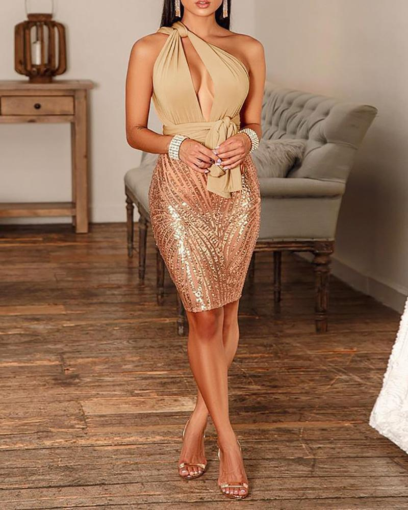 Kontted Design Cut Out Sequin Dress