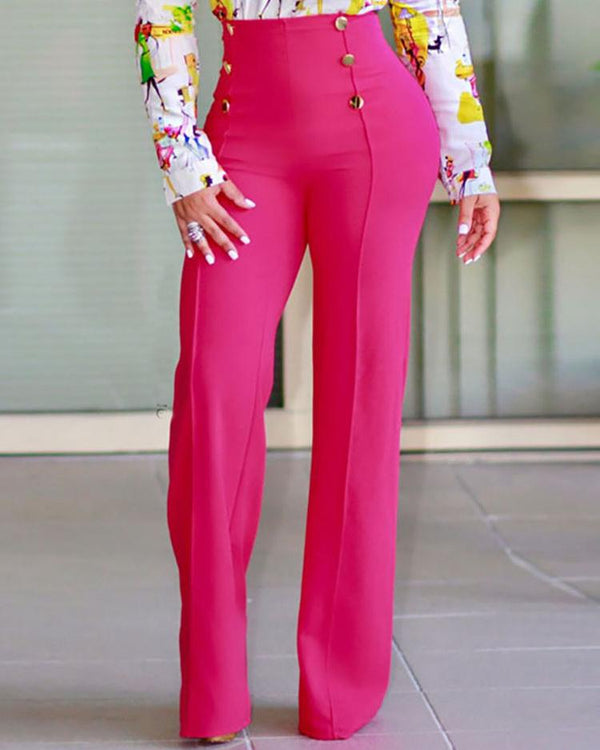 Double-breasted High Waist Wide Leg Pants