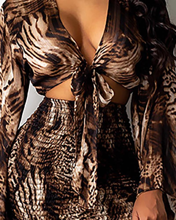 Snakeskin Cut Out Plunge Bodycon Skirts & Sets