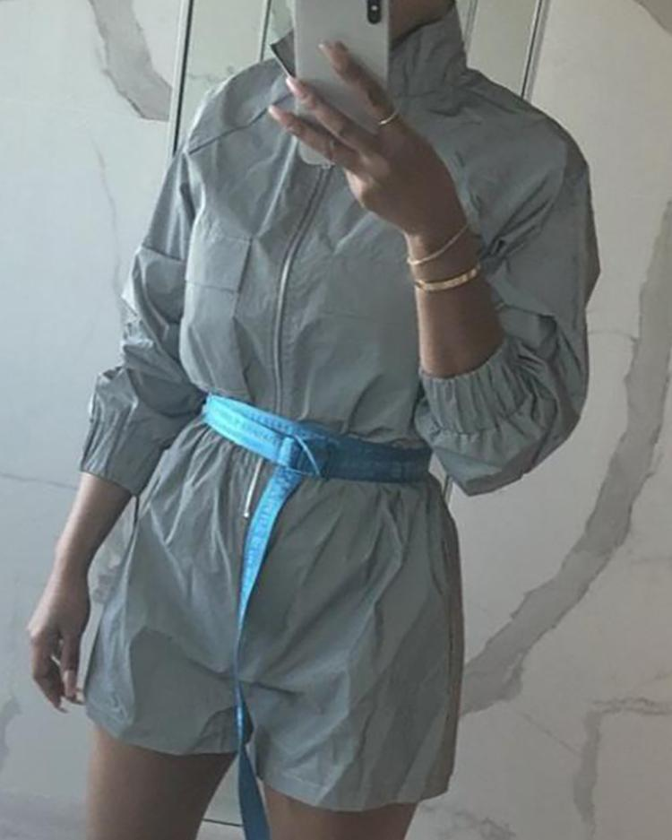 Reflective Elastic Cuff Zip Up Romper