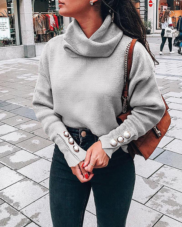 Heap Neck Popper Cuff Solid Sweater
