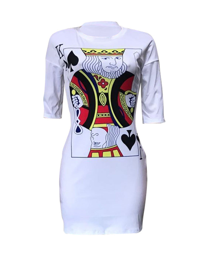 Poker-Face Print Casual T-Shirt Dress