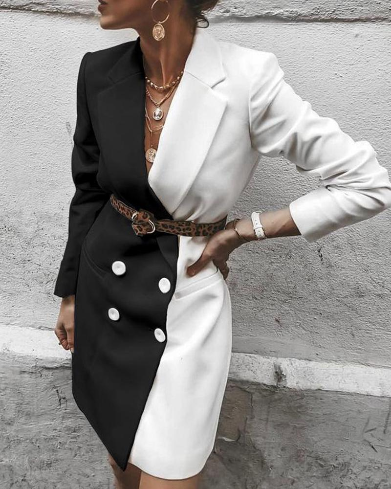 Contrast Double Breasted Blazer