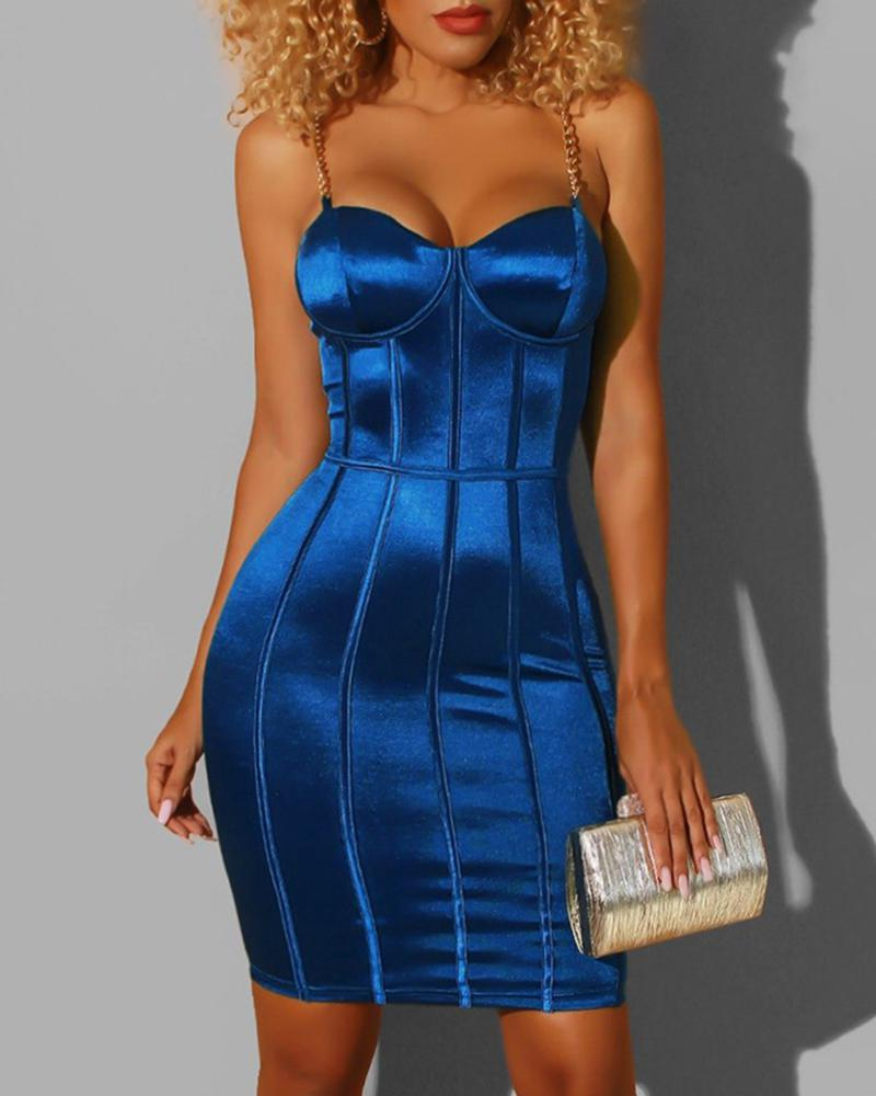 Low Cut Backless Spaghetti Strap Bodycon Dress