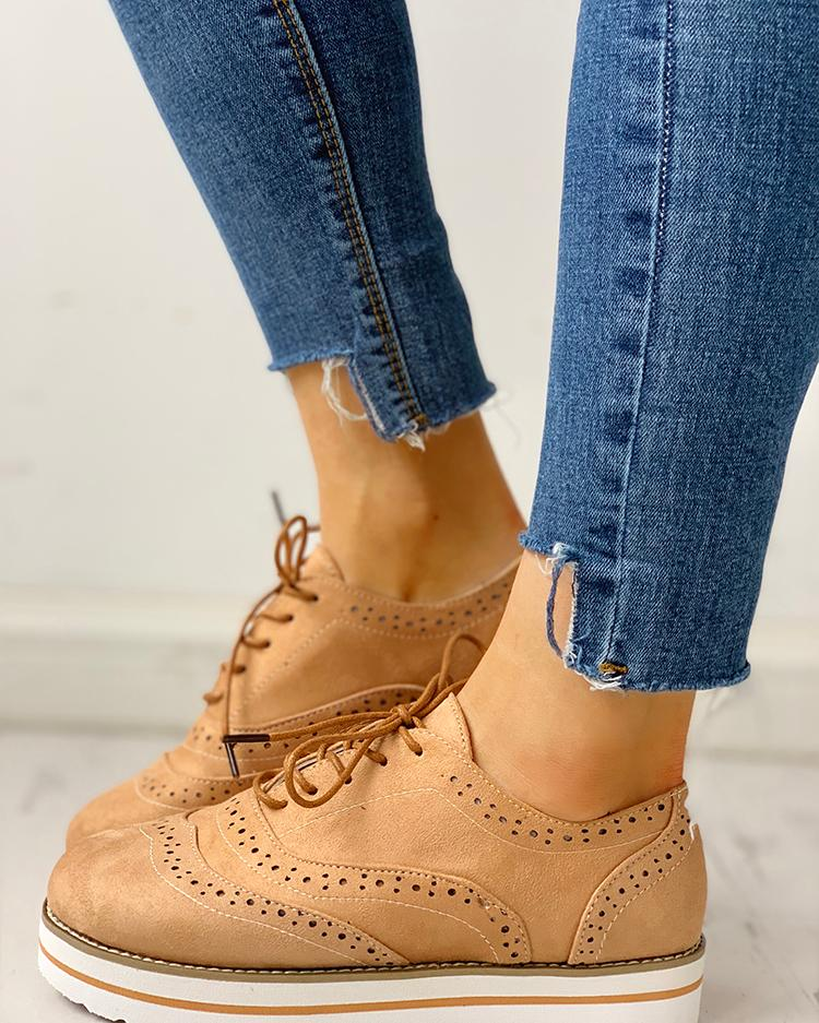 Hollow Out Pattern Lace-up Platform Shoes
