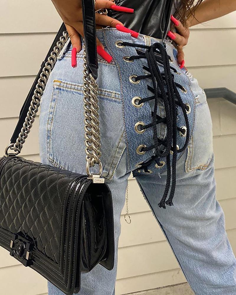 Eyelet Lace Up Back High Waist Jeans