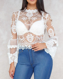 Sheer Lace Crochet Bell Sleeve Blouse
