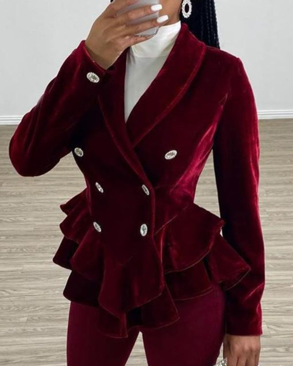 Double Breasted Velvet Ruffle Blazer & Skinny Pants