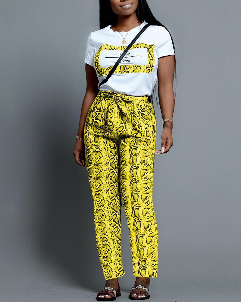 Casual Print Top With Long Pant Sets