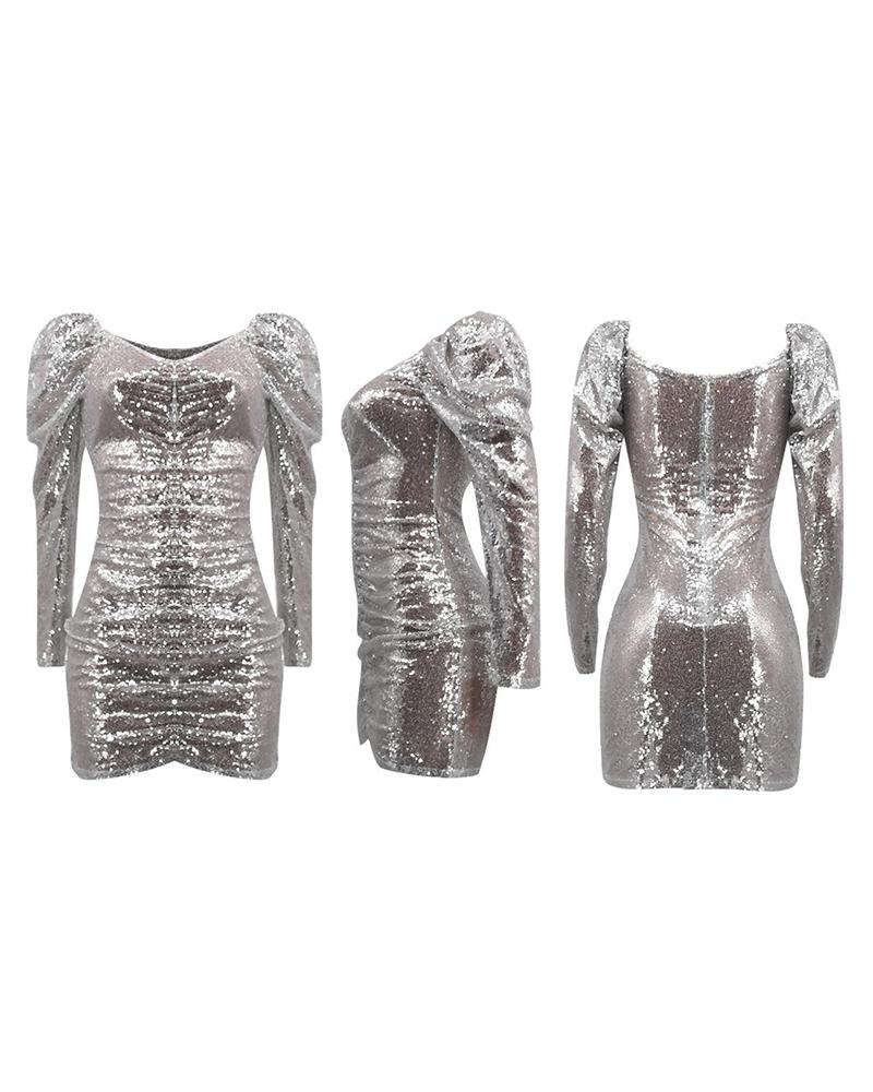Plunge Bodycon Sequined Mini Dress