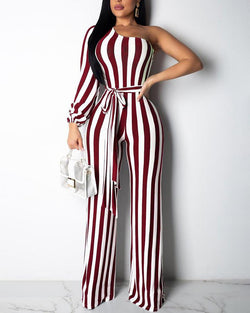 One Shoulder Striped Bleted Jumpsuit