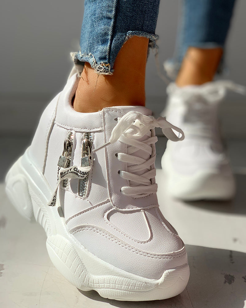 Lace-Up Zipper Design Sneakers