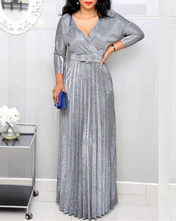 Glitter V Neck Long Sleeve Pleated Maxi Dress