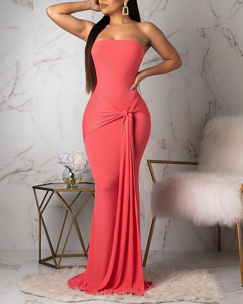 Knot Design Strapless Maxi Dress