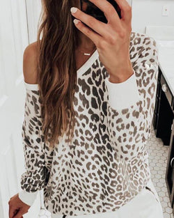 Cheetah Print Long Sleeve Casual Sweatshirt