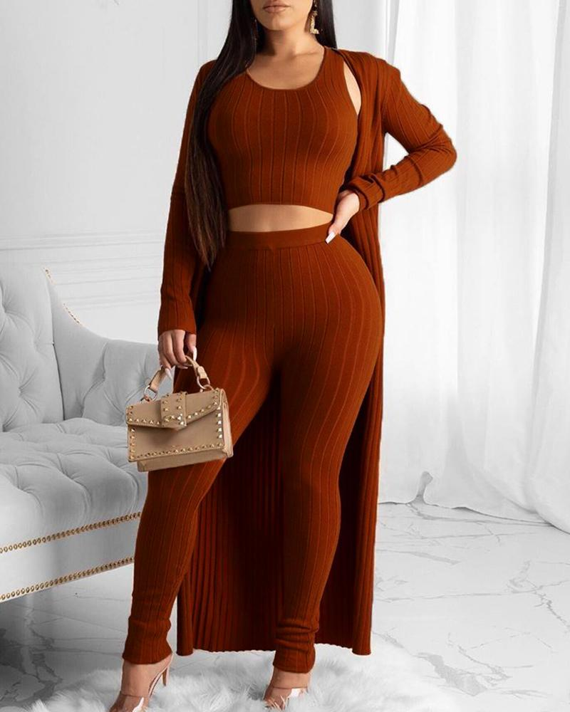 Solid Ribbed Crop Top & Pant With Coat Sets