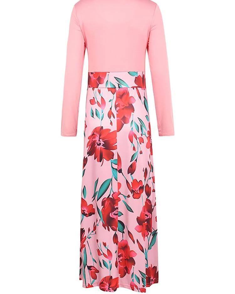 Rose Print Insert Long Sleeve Maxi Dress