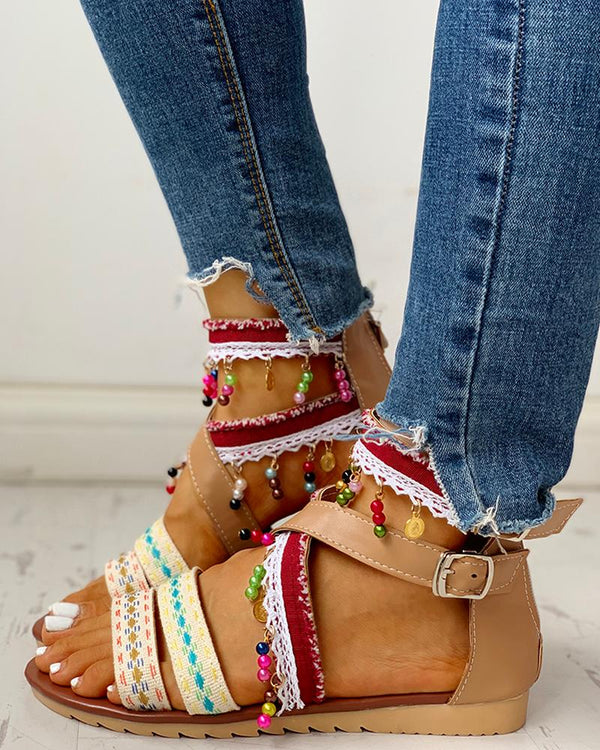 Ethnic Style Ankle Buckled Casual Flat Sandals
