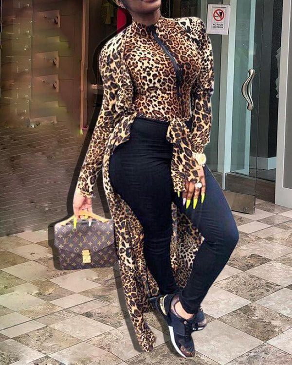 Leopard Print Cape Coat & Top