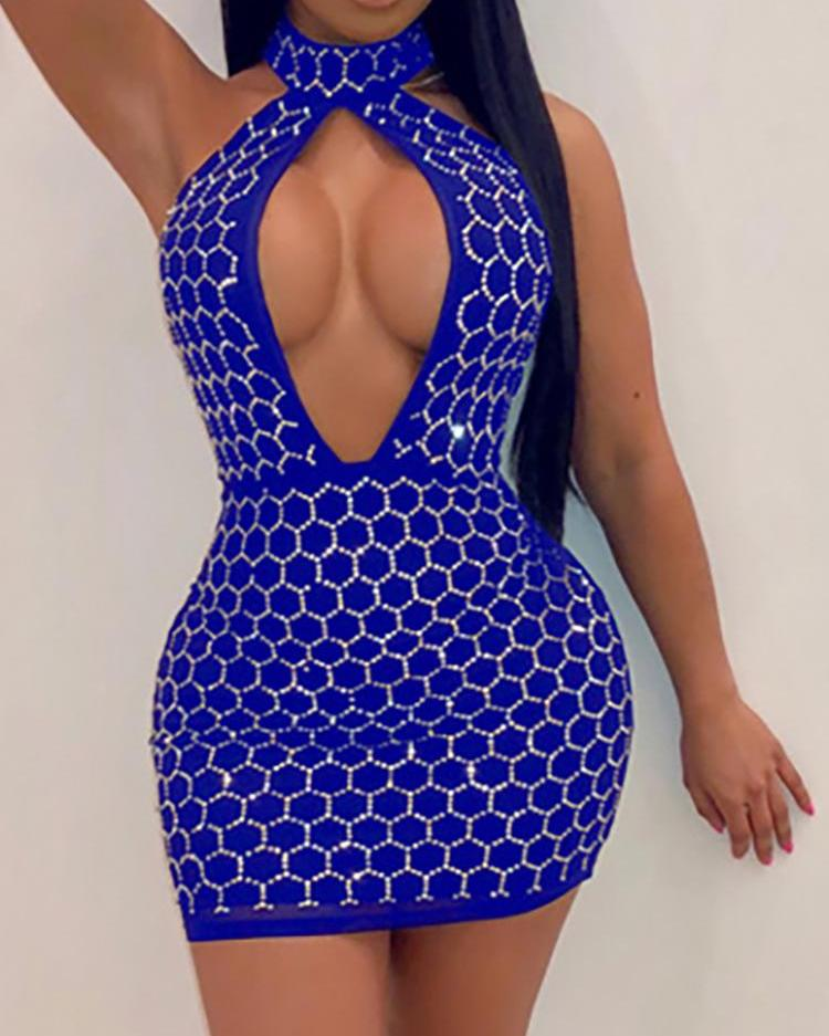 Hot Drilling Halter Cutout Bodycon Dress