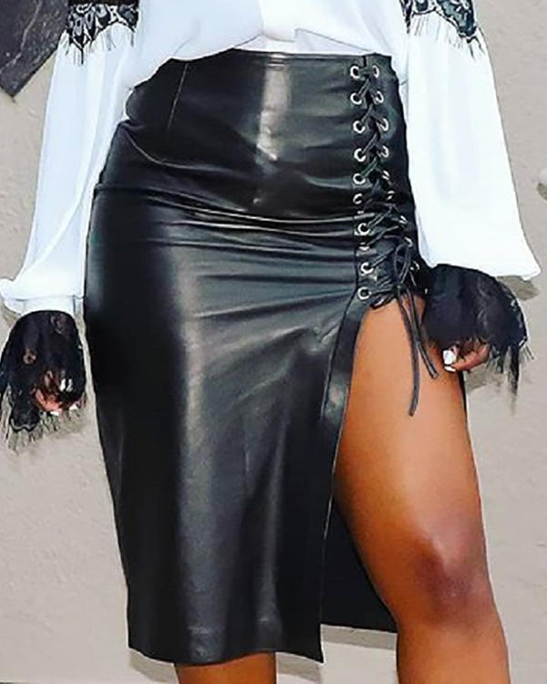 Eyelet Lace-Up Slit Faux Leather Skirts