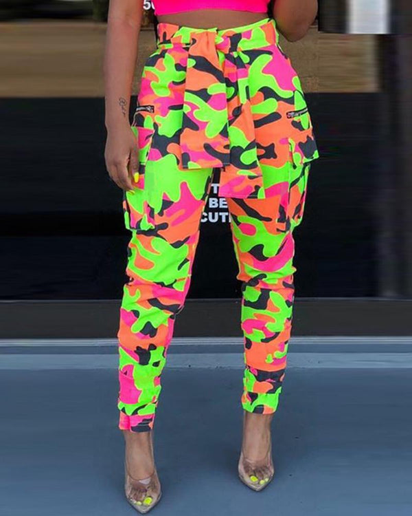 Neon Color Printed Pencil Pants With Belt