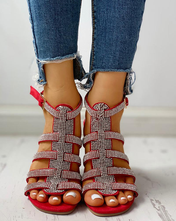 Studded Multi-Strap Ankle-buckled Flat Sandals