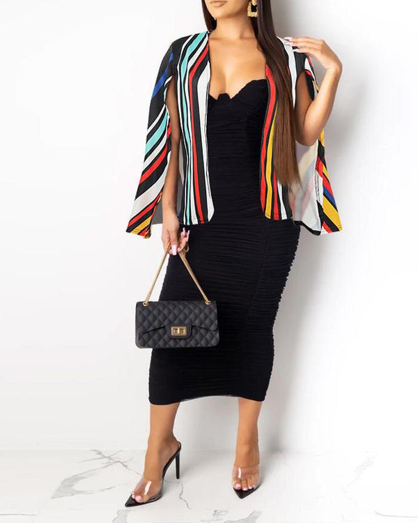 Multicolor Stripes Cape Jacket