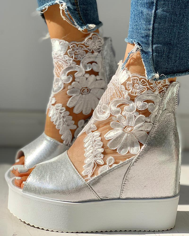 Lace Hollow Out Open-toe Wedge Sandals