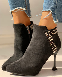 Suede Zipper Eyelet Design Thin Heeled Boots