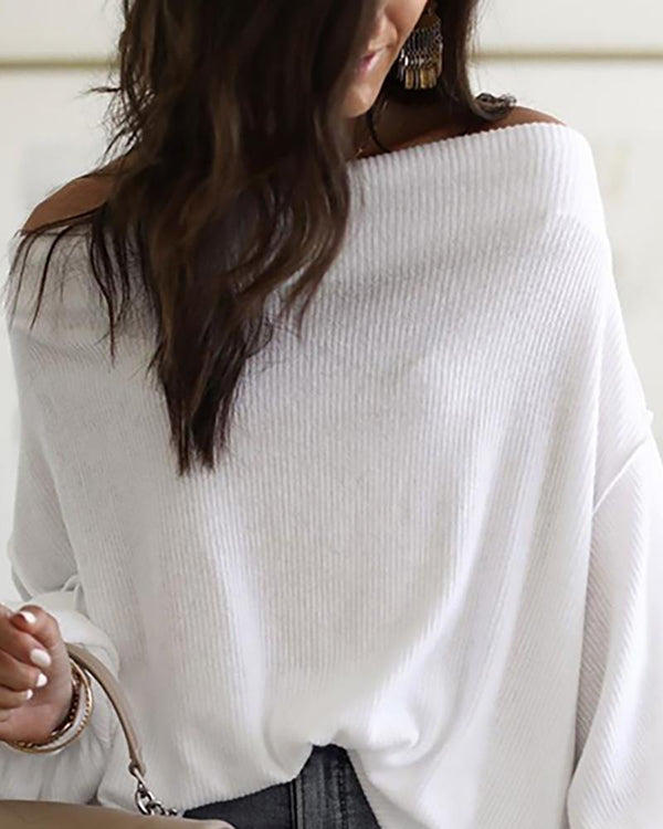 Off Shoulder Lantern Sleeve Ribbed Sweater